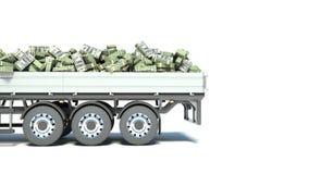 有在白色背景隔绝的金钱的汽车卡车 库存图片