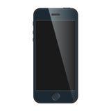 有在白色背景隔绝的黑屏的现实蓝色手机 现代概念智能手机设备 库存图片