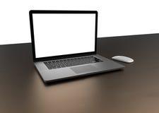 有在白色背景隔绝的黑屏的膝上型计算机,灰色铝身体 免版税库存图片