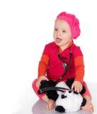 有在白色背景隔绝的phonendoscope的女婴 图库摄影