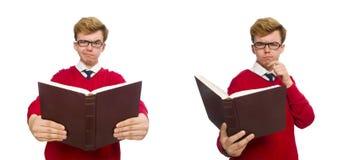 有在白色隔绝的书的大学生 图库摄影