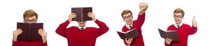 有在白色隔绝的书的大学生 库存照片