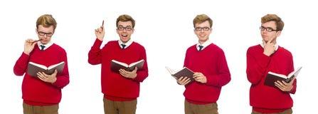 有在白色隔绝的书的大学生 免版税库存图片