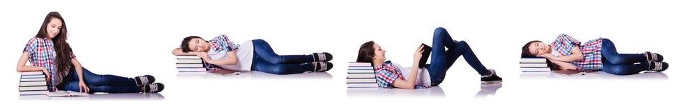 有在白色隔绝的书的学生 免版税库存图片