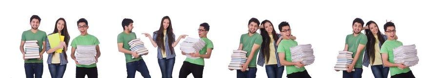 有在白色隔绝的书的学生 免版税库存照片