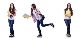 有在白色隔绝的书的年轻学生 图库摄影