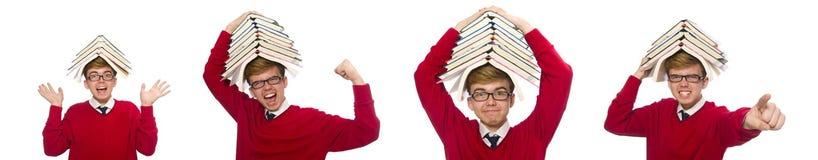 有在白色隔绝的书的滑稽的学生 库存图片