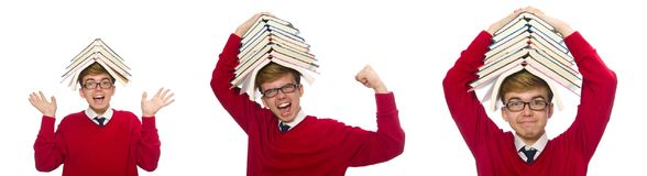 有在白色隔绝的书的滑稽的学生 免版税库存照片