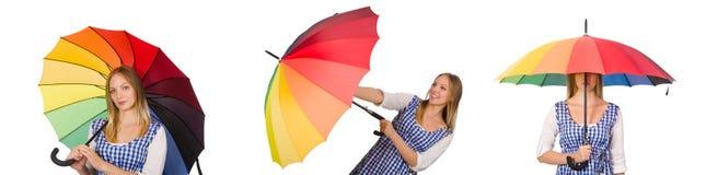 有在白色隔绝的伞的妇女 库存照片