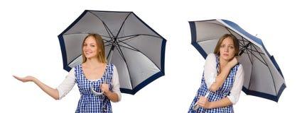 有在白色隔绝的伞的妇女 免版税库存照片