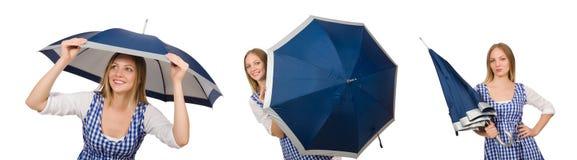 有在白色隔绝的伞的妇女 免版税库存图片