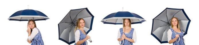 有在白色隔绝的伞的妇女 图库摄影