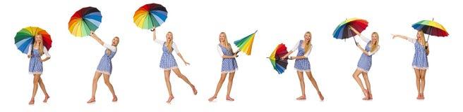 有在白色隔绝的伞的妇女 库存图片