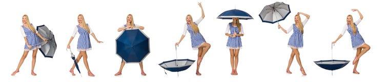 有在白色隔绝的伞的妇女 免版税图库摄影