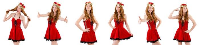 有在白色隔绝的冠的红头发人女孩 库存照片