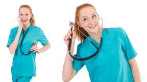 有在白色隔绝的听诊器的年轻医疗实习生 库存图片