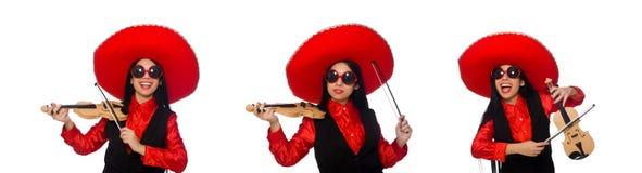 有在白色隔绝的小提琴的墨西哥妇女 库存照片