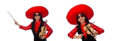 有在白色隔绝的小提琴的墨西哥妇女 图库摄影