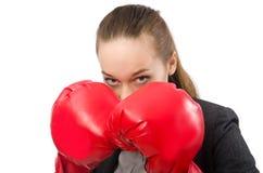 有在白色隔绝的拳击手套的女实业家 库存照片