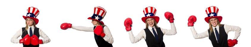 有在白色隔绝的拳击手套的妇女 免版税图库摄影
