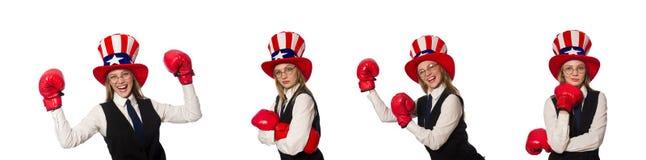 有在白色隔绝的拳击手套的妇女 库存图片