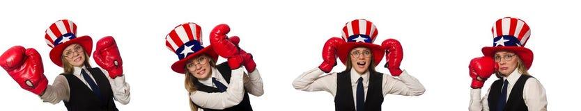 有在白色隔绝的拳击手套的妇女 库存照片