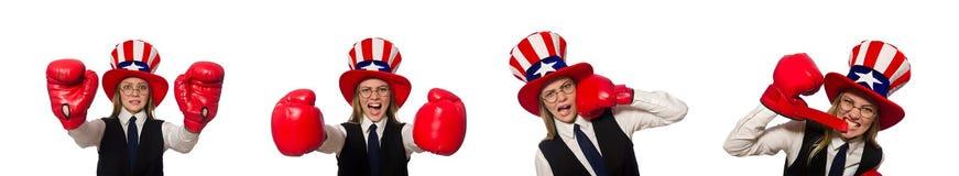 有在白色隔绝的拳击手套的妇女 免版税库存照片