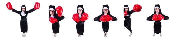 有在白色隔绝的拳击手套的尼姑 库存照片