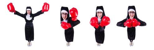 有在白色隔绝的拳击手套的尼姑 免版税库存图片