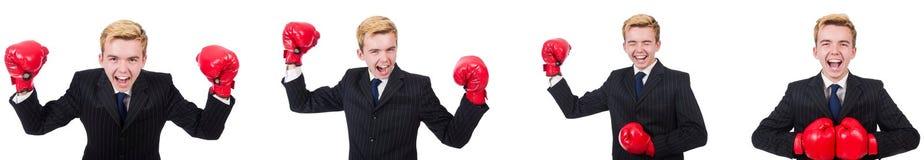 有在白色隔绝的拳击手套的年轻雇员 库存图片