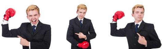 有在白色隔绝的拳击手套的年轻雇员 免版税图库摄影