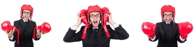 有在白色隔绝的拳击手套的年轻雇员 免版税库存图片