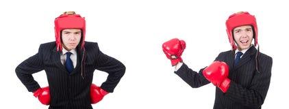 有在白色隔绝的拳击手套的年轻雇员 免版税库存照片