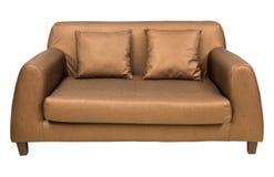 有在白色隔绝的枕头的沙发家具 免版税库存照片