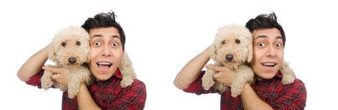 有在白色隔绝的狗的年轻人 库存照片