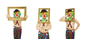 有在白色隔绝的相框的小丑 免版税库存图片