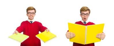 有在白色隔绝的纸的学生 免版税库存图片