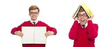 有在白色隔绝的纸的学生 库存照片
