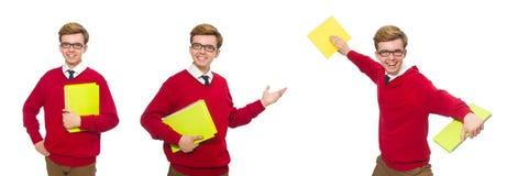 有在白色隔绝的纸的学生 免版税图库摄影