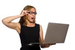 有在白色隔绝的膝上型计算机的妇女 免版税库存照片