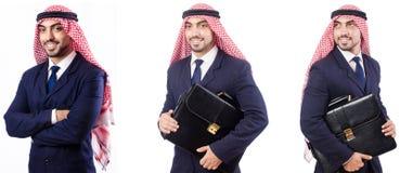 有在白色隔绝的袋子的阿拉伯人 库存照片