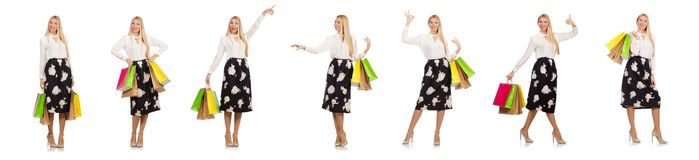 有在白色隔绝的购物袋的妇女 免版税库存照片
