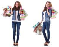 有在白色隔绝的购物袋的少妇 免版税库存照片