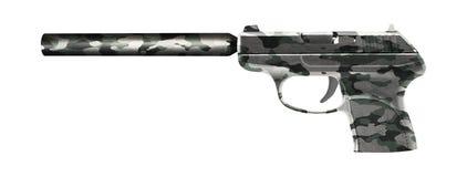 有在白色隔绝的遏声器的手枪 免版税库存照片
