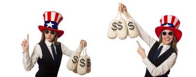 有在白色隔绝的金钱大袋的妇女 免版税库存照片