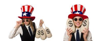 有在白色隔绝的金钱大袋的妇女 免版税图库摄影