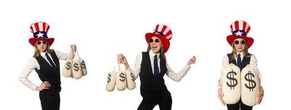 有在白色隔绝的金钱大袋的妇女 免版税库存图片