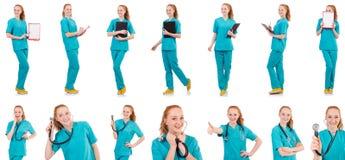 有在白色隔绝的黏合剂的妇女医生 免版税库存照片