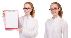 有在白色隔绝的黏合剂的年轻医科学生 免版税图库摄影