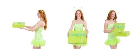 有在白色隔绝的giftbox的妇女 免版税库存图片